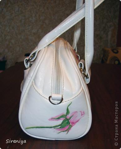 Мой второй декупаж. Была просто белая сумочка, скучно... фото 4