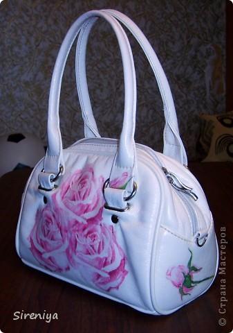 Мой второй декупаж. Была просто белая сумочка, скучно... фото 3
