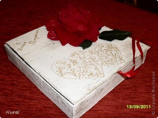 """Вот и отдохнула я после свадьбы, теперь сделала подарок любимой подруге на день рождения. Коробочка и фоторамка. НАзвала """"Страсть"""". Как вам? фото 1"""
