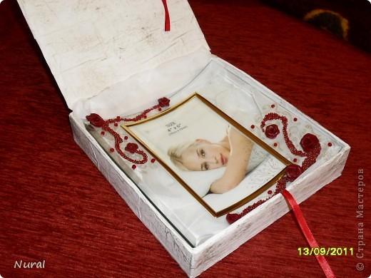 """Вот и отдохнула я после свадьбы, теперь сделала подарок любимой подруге на день рождения. Коробочка и фоторамка. НАзвала """"Страсть"""". Как вам? фото 2"""