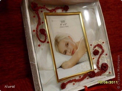 """Вот и отдохнула я после свадьбы, теперь сделала подарок любимой подруге на день рождения. Коробочка и фоторамка. НАзвала """"Страсть"""". Как вам? фото 3"""