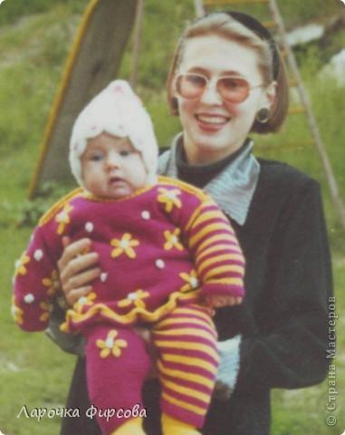 """Девочки, хочу поделится с вами, нашла свои детские вязалочки - то, что я вязала своей доче, когда она была совсем крохой. Так мне нравились те вещи, практически ничего не сохранилось - все пошло """"в народ""""))))) и живет только в моей памяти. Не могу вам передать, как я была рада, когда нашла эти фотки!!!!!! Качество не очень, ну уж так мне хотелось вам показать!  фото 2"""