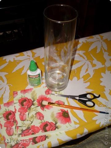 . Стеклянную вазу обезжириваем. Можно протереть спиртом, водкой либо просто вымыть с Фейри. фото 1