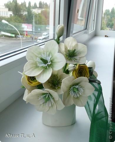 А я к вам сегодня с морозниками. Давно заглядывалась на этот цветок и разнообразие его оттенков. Скоро я оставлю свою основную работу, город, страну и наконец-то уеду к мужу))). Своих коллег я уже букетами обдарила))), а узнав и моем отъезде сотрудники других управлений захотели (в авральном порядке) мои цветочки на память))) Есть конкретные заказы, а есть на мой вкус – эти одни из них. фото 2
