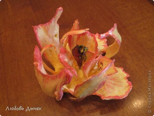 Цветок на счастье.Работа выполнена из косточек рыбы толстолобика. фото 6
