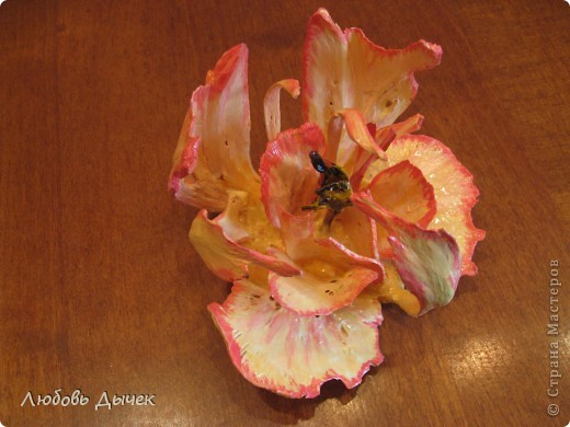 Цветок на счастье.Работа выполнена из косточек рыбы толстолобика. фото 7