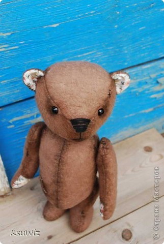 Хочу познакомить вас с Мишель, состаренной мишкой, сшитой на совместном пошиве. фото 2
