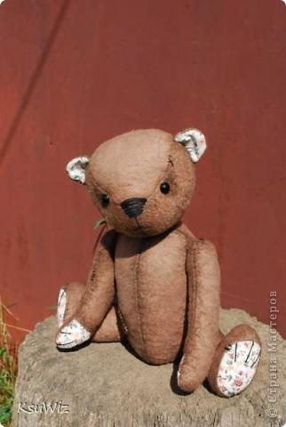 Хочу познакомить вас с Мишель, состаренной мишкой, сшитой на совместном пошиве. фото 4