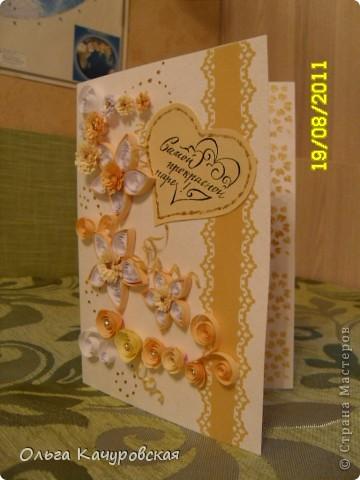 Эту открытку я сделала по просьбе друзей - на свадьбу (уже для их друзей...). Внутри - конвертик для денежного подарка. Говорят, молодоженам понравилось... фото 2