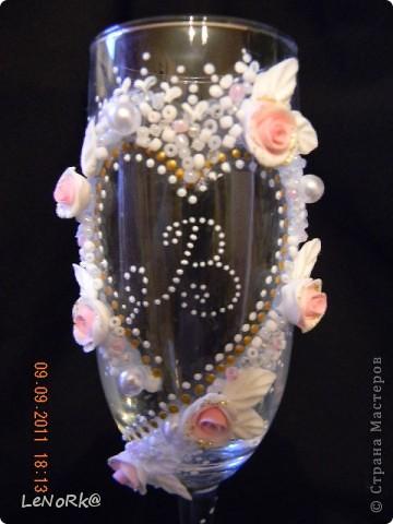 """свадебные бокалы""""розовая мечта"""" фото 2"""