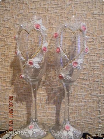 """свадебные бокалы""""розовая мечта"""" фото 1"""