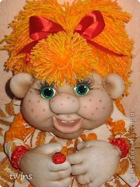 Куклы Начало учебного года Шитьё Осенняя девочка - попик  личико сшито по мотивам куклы - Дашенька автор pawy  фото 7