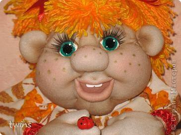 Осенняя девочка - попик ( личико сшито по мотивам куклы - Дашенька (автор pawy) фото 1