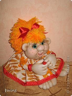 Куклы Начало учебного года Шитьё Осенняя девочка - попик  личико сшито по мотивам куклы - Дашенька автор pawy  фото 3