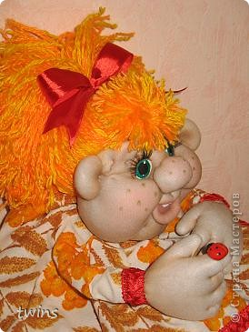 Куклы Начало учебного года Шитьё Осенняя девочка - попик  личико сшито по мотивам куклы - Дашенька автор pawy  фото 6