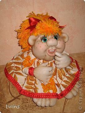 Осенняя девочка - попик ( личико сшито по мотивам куклы - Дашенька (автор pawy) фото 2