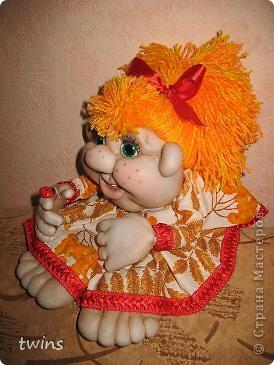 Осенняя девочка - попик ( личико сшито по мотивам куклы - Дашенька (автор pawy) фото 4