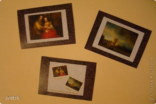 """Девочки, не ругайте строго. Это мои первые АТС. Для АТС использовала изображения картин-  фантики от конфет, которые хранились у меня несколько лет(!) и я не могла найти им применения. Серия сделана в конце мая, но выложить смогла их только сейчас.  Серия """"Две картины"""", Рембрандт. фото 1"""