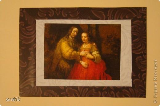 """Девочки, не ругайте строго. Это мои первые АТС. Для АТС использовала изображения картин-  фантики от конфет, которые хранились у меня несколько лет(!) и я не могла найти им применения. Серия сделана в конце мая, но выложить смогла их только сейчас.  Серия """"Две картины"""", Рембрандт. фото 2"""