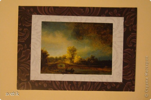 """Девочки, не ругайте строго. Это мои первые АТС. Для АТС использовала изображения картин-  фантики от конфет, которые хранились у меня несколько лет(!) и я не могла найти им применения. Серия сделана в конце мая, но выложить смогла их только сейчас.  Серия """"Две картины"""", Рембрандт. фото 3"""