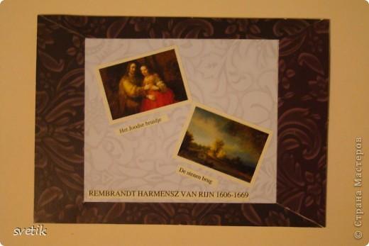 """Девочки, не ругайте строго. Это мои первые АТС. Для АТС использовала изображения картин-  фантики от конфет, которые хранились у меня несколько лет(!) и я не могла найти им применения. Серия сделана в конце мая, но выложить смогла их только сейчас.  Серия """"Две картины"""", Рембрандт. фото 4"""