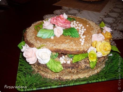 """торт """" Шкатулка"""" Розы из сладкой мастики. фото 1"""