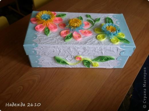 Надоело мне смотреть на старую обувную коробку с мелочами. И решила я ее сделать красивой, и вот что получилось... фото 1