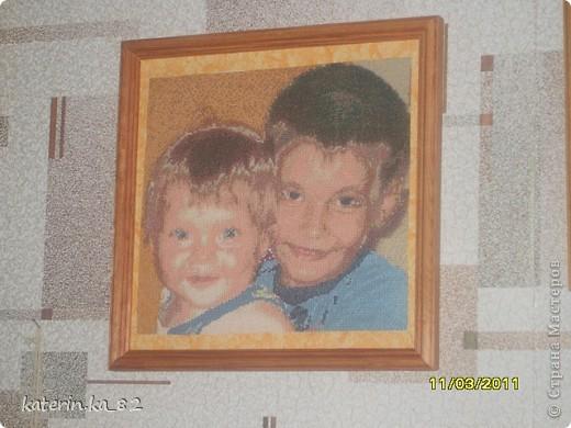вышитое фото детишек моих