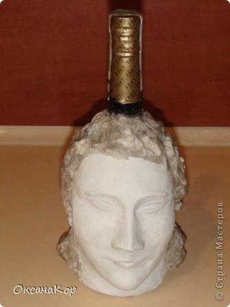 Здравствуйте. Это бутылка декорирована как голова женщины в шляпе. (Правда женщина у меня не совсем получилась , почему то выходило только мужское лицо) фото 12