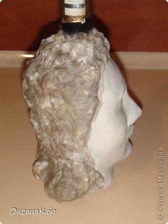 Здравствуйте. Это бутылка декорирована как голова женщины в шляпе. (Правда женщина у меня не совсем получилась , почему то выходило только мужское лицо) фото 13
