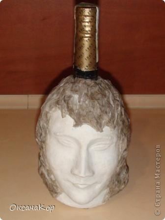 Здравствуйте. Это бутылка декорирована как голова женщины в шляпе. (Правда женщина у меня не совсем получилась , почему то выходило только мужское лицо) фото 14