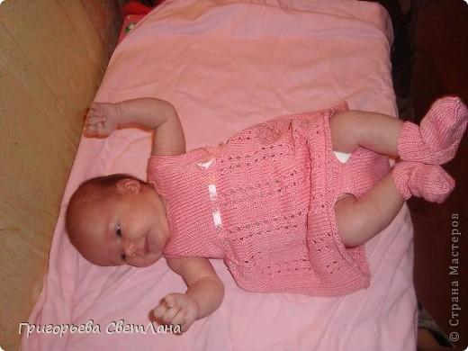Платье и пинетки Вязание спицами.