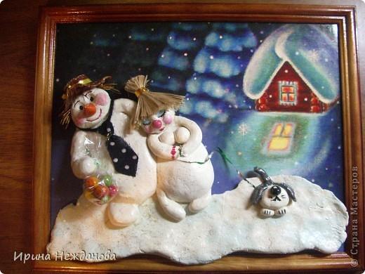 Зимняя, морозная ночь..... Снеговики....... Любовь......... фото 1