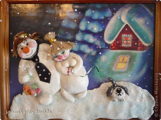 Зимняя, морозная ночь..... Снеговики....... Любовь......... фото 2