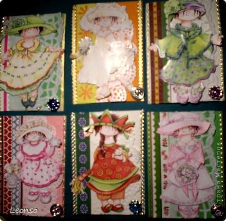 """Этих малышек я нашла в приложении к журналу """"Kreativ mit Karten."""" Согласитесь,они действительно очень креативны.Хотела сделать открытки ,но сделала АТСки Пока менять их не готова Выставляю просто для просмотра фото 1"""