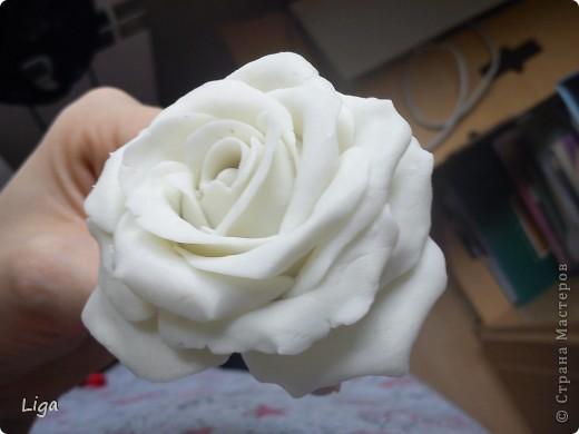 Мой первый цветочек...Я так долго не решалась его изготовить. Постоянно читала разные МК,и становилось страшно. Но потом мой Ромка отвез меня в магазин и заставил купить все необходимое. И вот она-свеженькая,а самое главное-моя!!! Я очень рада фото 3