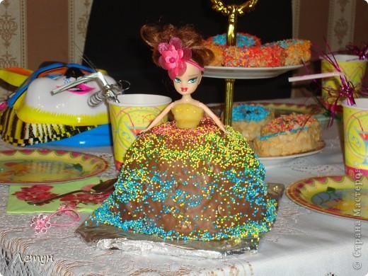 Приготовила тортик-куклу, на детский праздник. Покупные бисквитные коржи, крем: масло 200 гр. + вареная сгущенка 1 б. + сгущенки 80 гр. (получается более нежный). Сверху залила шоколадом.