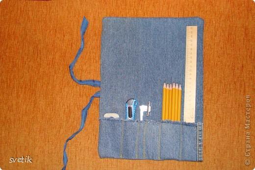 Для уроков труда  сын попросил сшить ему сумочку- скатку для инструментов. Вот что получилось у меня за два часа...Украшать и придумывать еще что-то не было ни сил, ни времени... фото 2
