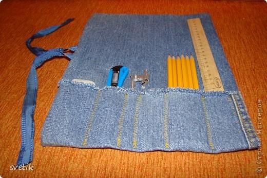 Для уроков труда  сын попросил сшить ему сумочку- скатку для инструментов. Вот что получилось у меня за два часа...Украшать и придумывать еще что-то не было ни сил, ни времени... фото 1
