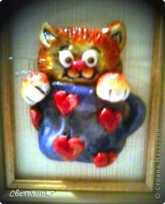 """Картинку сделала с наверное известной всем схемы вышивки """"Коты в кружках"""". Вот результат: фото 1"""
