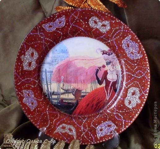 """В памать о посещении Венеции сделала тарелку. Сфотографировать тарелку было сложно, т.к. она сверкает и переливается. Тарелка участвовала в конкурсе """"Мир путешествий - города и страны"""" форума """"Ручная работа"""" , но призового места не получила. фото 1"""