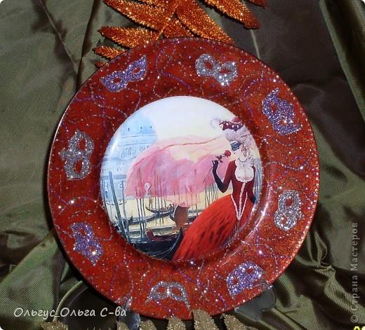 """В памать о посещении Венеции сделала тарелку. Сфотографировать тарелку было сложно, т.к. она сверкает и переливается. Тарелка участвовала в конкурсе """"Мир путешествий - города и страны"""" форума """"Ручная работа"""" , но призового места не получила. фото 3"""