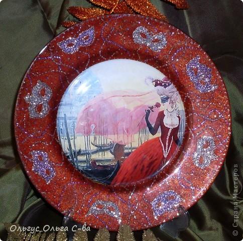 """В памать о посещении Венеции сделала тарелку. Сфотографировать тарелку было сложно, т.к. она сверкает и переливается. Тарелка участвовала в конкурсе """"Мир путешествий - города и страны"""" форума """"Ручная работа"""" , но призового места не получила. фото 4"""