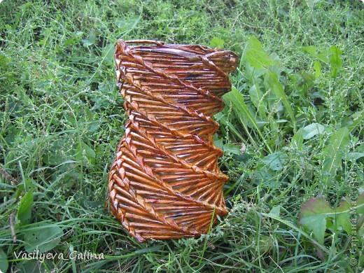 ваза малая-косое плетение. фото 1