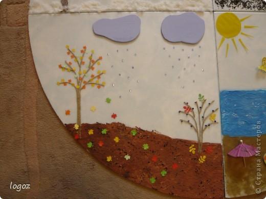 """В детском саду попросили сделать панно """"Времена года"""".  Основа-плитка для потолка, остальной материал-гофрированная бумага, шпатлевка, шпагат, песок, бисер, чай, синтепон, дырокольности. Воспитатель будет клеить на него фото детей, родившихся в это время года. фото 5"""