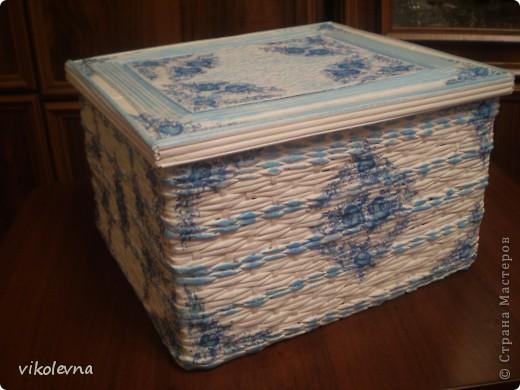 короб делала на заказ.знакомая просила сделать большую коробку.у Юляшки 1307(привет Юлечка!!!),понравилась шлатулочка-гжелечка.решила сделать нечто подобное.и вот что получилось.еще без лака. фото 6