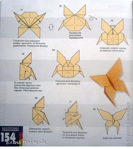 """В книге Ирины Богатовой """"Оригами. 44 цветочные композиции"""", <a href=""""http://www.labirint.ru/books/273175/?p=4968"""" title=""""Оригами.Цветочные композиции""""> <img src=""""http://img.labirint.ru/images/books1/273175/small.jpg"""" border=""""0"""" align=""""middle""""/> </a> кроме интересных схем цветов и идей для цветочных композиций есть еще и  схемы сборки вот таких бабочек. Они довольно просты и быстры. А бабочки станут замечательным украшением для поделок. фото 9"""