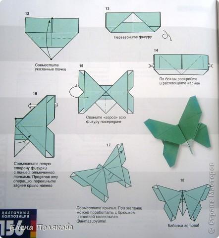 """В книге Ирины Богатовой """"Оригами. 44 цветочные композиции"""", <a href=""""http://www.labirint.ru/books/273175/?p=4968"""" title=""""Оригами.Цветочные композиции""""> <img src=""""http://img.labirint.ru/images/books1/273175/small.jpg"""" border=""""0"""" align=""""middle""""/> </a> кроме интересных схем цветов и идей для цветочных композиций есть еще и  схемы сборки вот таких бабочек. Они довольно просты и быстры. А бабочки станут замечательным украшением для поделок. фото 11"""