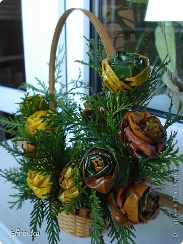Сегодня в школе у детей начинается конкурс осенних букетов. Решили с дочкой поучаствовать. Соорудили вот такую корзину с розами из кленовых листьев. А делали мы эти розы по МК Татьяны Просняковой:  http://stranamasterov.ru/node/2168. А вдохновлялась работой Кукуськи http://stranamasterov.ru/node/103447 фото 7