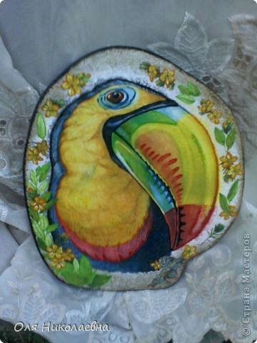 Хочу поделиться своей первой ключницей, со всеми! Вот такая она тропическая, яркая и разноцветная! фото 2